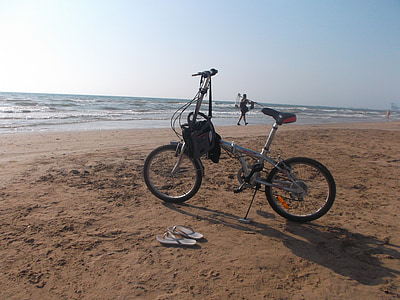 sea, beach, sunset, dawn, bicycle, exercise, landscape