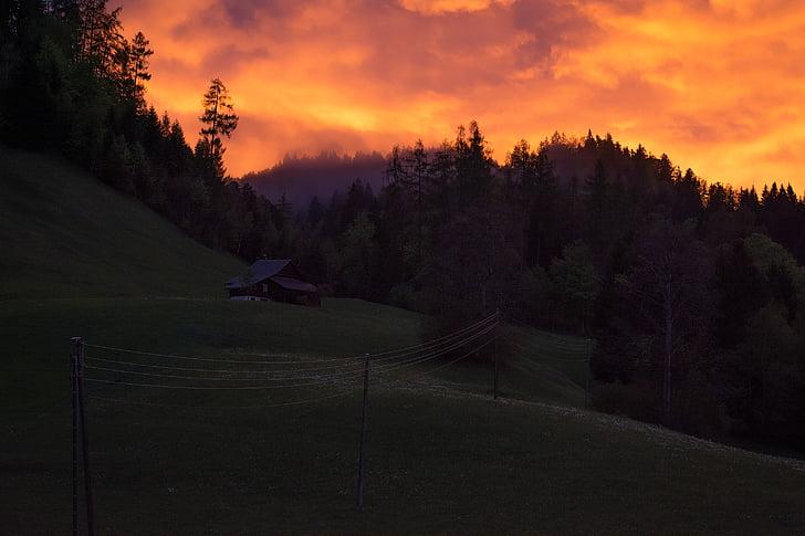 paisagem, clima tempo, pôr do sol, escuro, céu, nuvens, iluminação