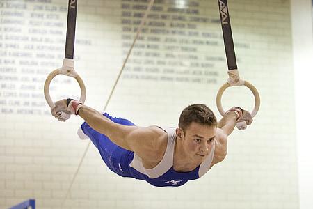 пръстени, спортист, гимнастика, мускулна, мощност, упражнение, силна