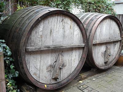 barriques, tonneaux de vin, baril, tonneau de vin, vin, bois, du bois