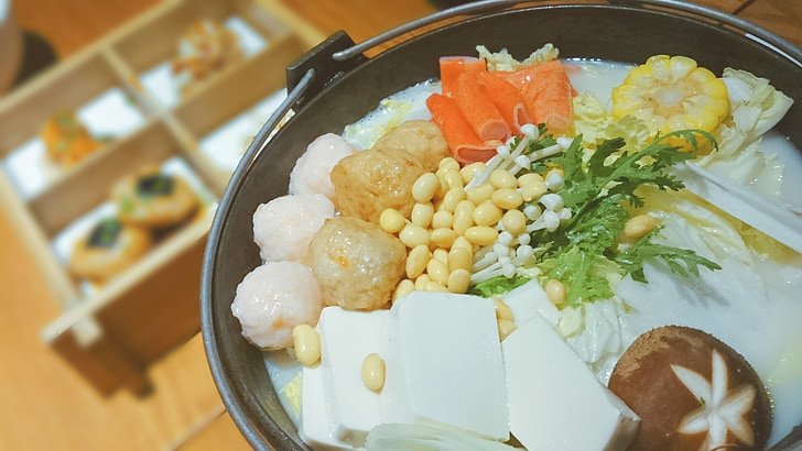 gourmet, food, delicious, chafing dish, tofu, vegetable, meal
