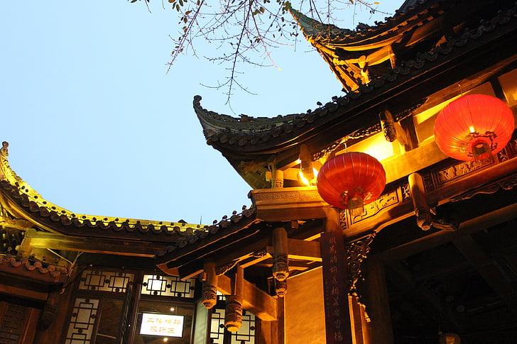 chengdu, night view, building, china wind