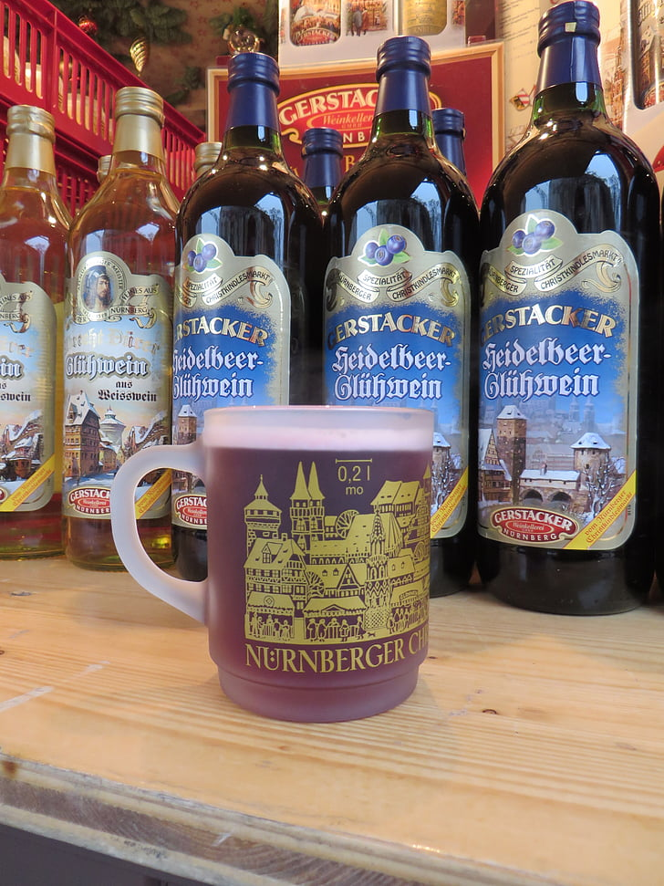 kuhano vino, Božični sejem, Nürnberg, pijača, topel napitek, alkoholne, vino