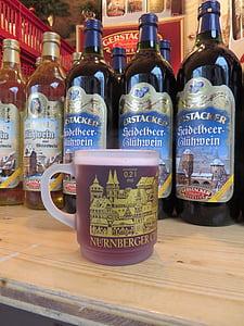 vahustatud veini shot, jõuluturg, Nürnbergi, jook, kuum jook, alkohoolsed, veini