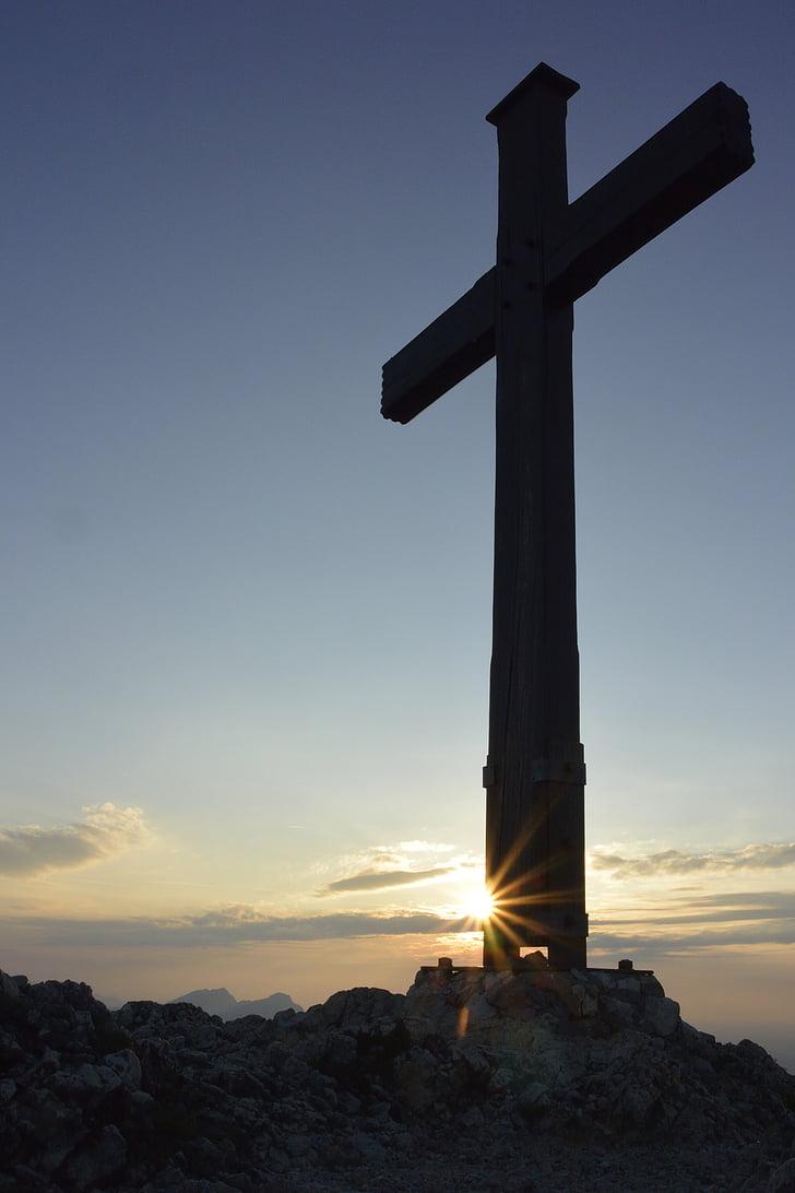 Захід сонця, Саміт хрест, Альпійська, Природа, зустрічі на вищому рівні, настрій, abendstimmung