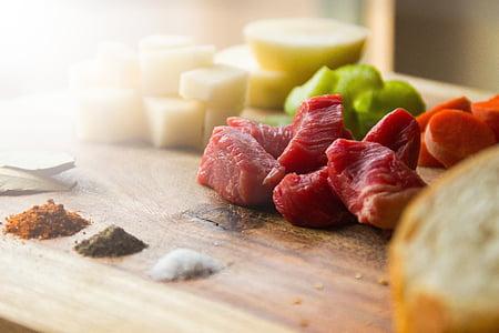 aliments, carn de boví, espècies, carn, preparació, àpat, preparar