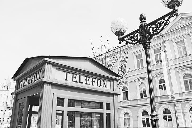telefon, telefonkiosk, lykt, gamle, svart-hvitt, Spa, Karlovy vary