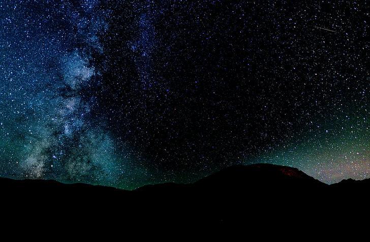 estrelada, à noite, modo de exibição, escuro, céu, estrelas, galáxia