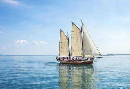 skipet, båt, Gardasjøen, Italia, sjøen, fartøy, seilskip