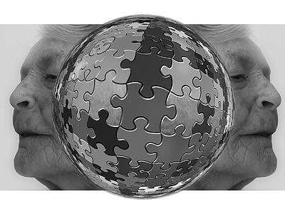 puzzle, pensare, donna, vecchio, età, demenza, morbo di Alzheimer