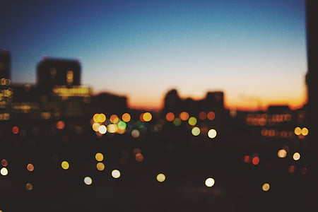 bokeh, city, lights, night