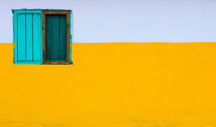 kricka, trä, skåp, gul, vit, väggen, fönster