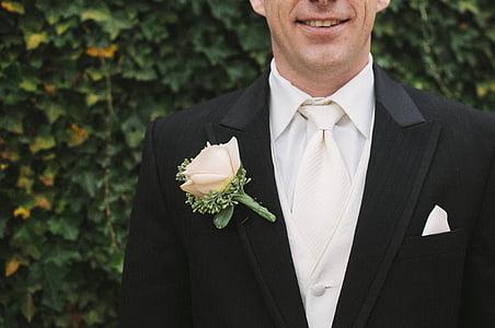 flower, formal, groom, man, suit, tie, tuxedo