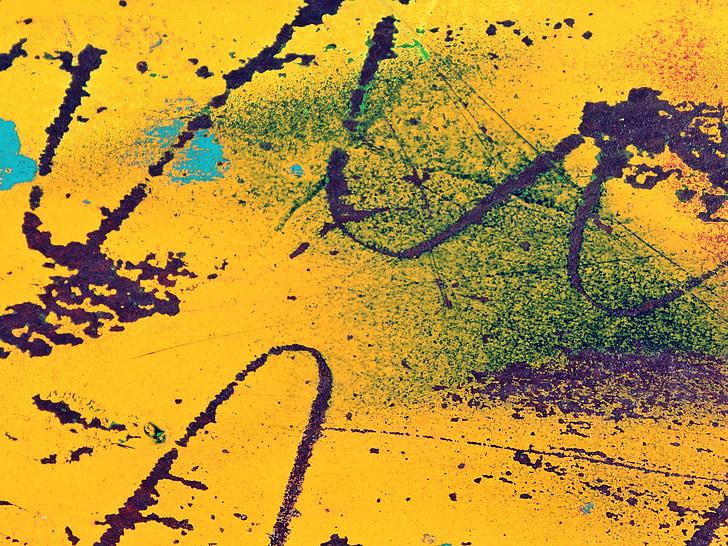 fons, groc, inoxidable, ona, rascades, resum, blau