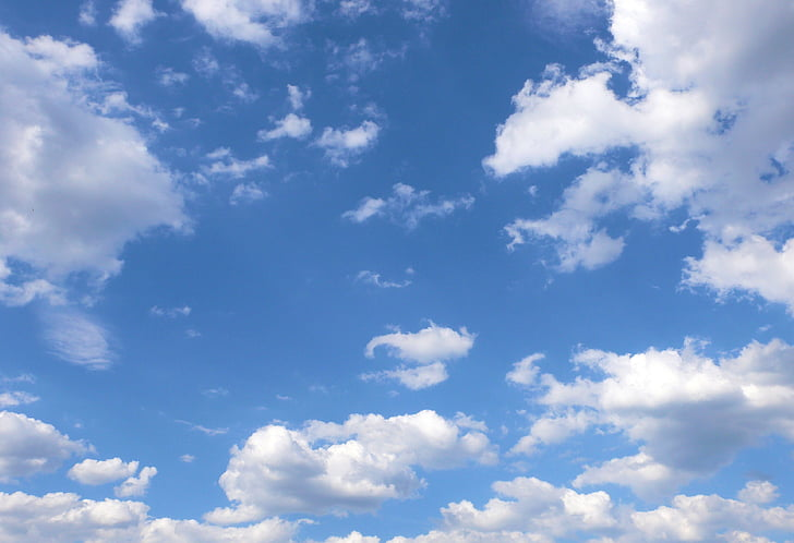 blue sky, white clouds, clouds, air, blue, white