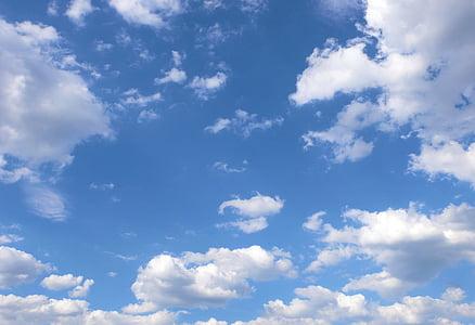 Голубое небо, белые облака, облака, воздуха, Голубой, Белый