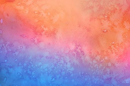 tinta 2, blau, rosa taronja, Aquarel·la, fons, Pintures d'aquarel·la, resum