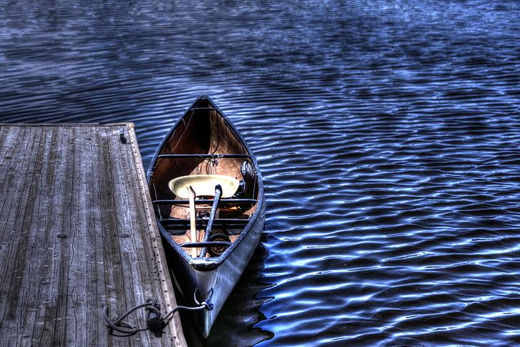 dock, rowboat, boat, blue, sea, salton sea, ripples