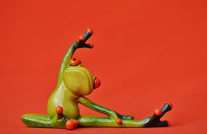 grodor, Figur, Yoga, gymnastik, Rolig, groda, grön