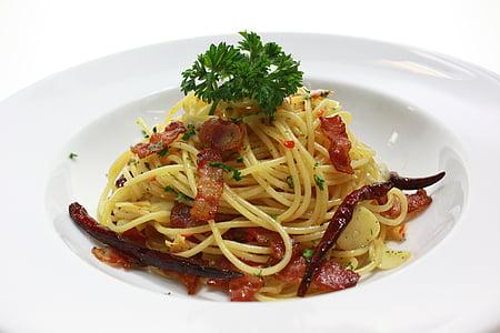 Espaguetis, cansalada, pastes, aliments, àpat, sopar, placa