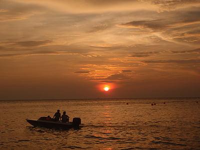posta de sol, vaixell, pescador, oceà, sol, posta de sol de platja, cel de posta de sol
