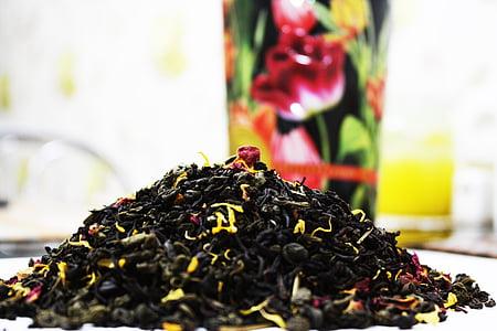 tee, lehed, ravimtaimede, terve, aroom, maitsetaimed, looduslik