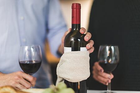 persones, home, vi, servir, vidre, taula, beguda