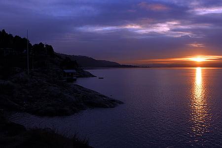 Oslofjorden, solnedgång, Oslo, resor, Norge, belysning, Scandinavia