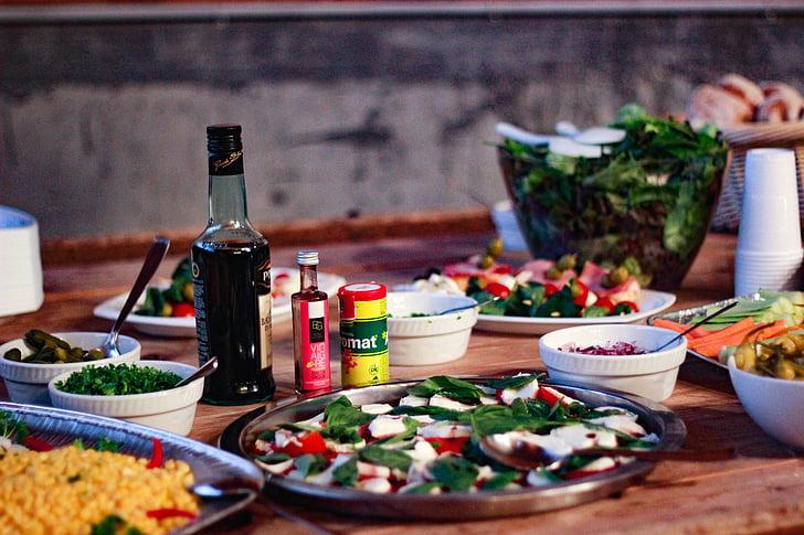 хліб, приправи, вечеря, блюдо, продукти харчування, обід, їжі