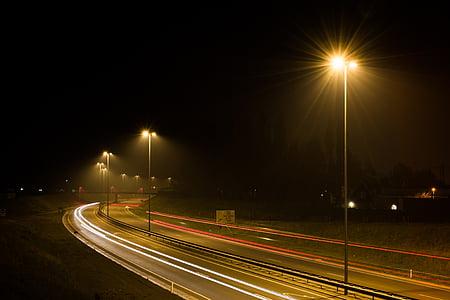 fotos, encenen, carretera, correu, asfalt, trànsit, nit