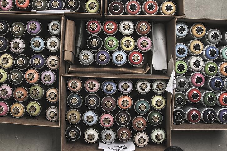 graffiti, kannák, spray festék, Montana, színek, szín