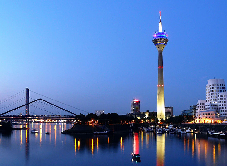 düsseldorf, media harbour, germany, rhine, tv tower, architecture of gehry skyscrapers, building