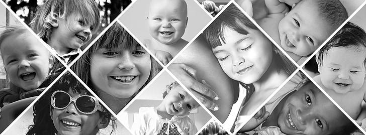 photo montage, children, laugh, joy, black and white
