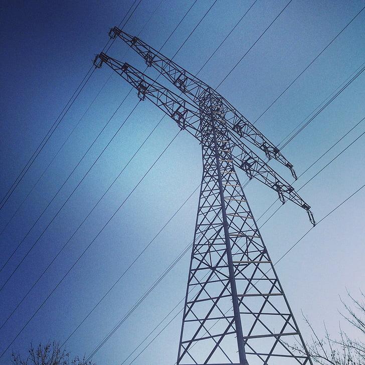 strommast, võimu poolakad, praeguse, elektrienergia, elektriliinid, energia, kõrgepinge
