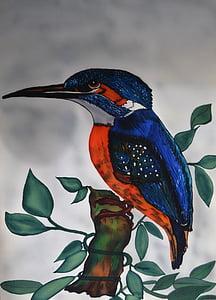 рибарче, Alcedo във това, рисувана коприна, птица, природата, плаващи бижу, птица 2009