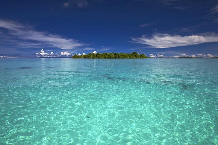 paisagem, mar, Kojima, países do Sul, Recifes de corais, tropical, transparência
