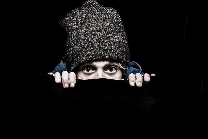pry, crook, tough, shy, child, faces, hat