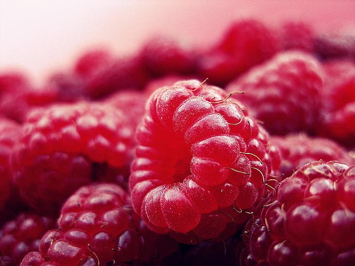 ราสเบอร์รี่, ผลไม้, สดใหม่, สีแดง, วิตามิน, มีสุขภาพดี, อร่อย