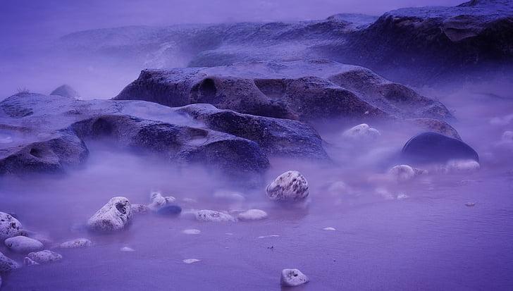 Baía, praia, Costa, oceano, roxo, Relaxe, rocha