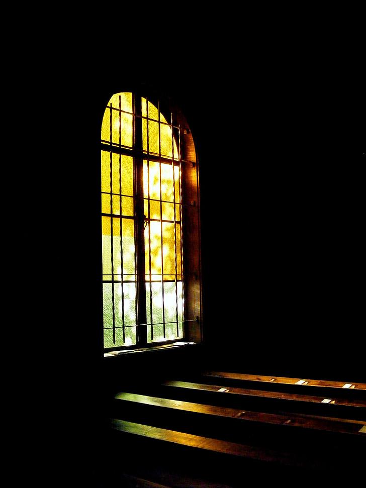 l'església, Vitrall, llum, fosc, finestra, vidre, Temple