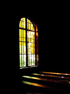 Chiesa, finestra di vetro macchiata, luce, scuro, finestra, vetro, Tempio