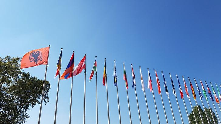 Europa, banderes, Estrasburg, preparat EUR
