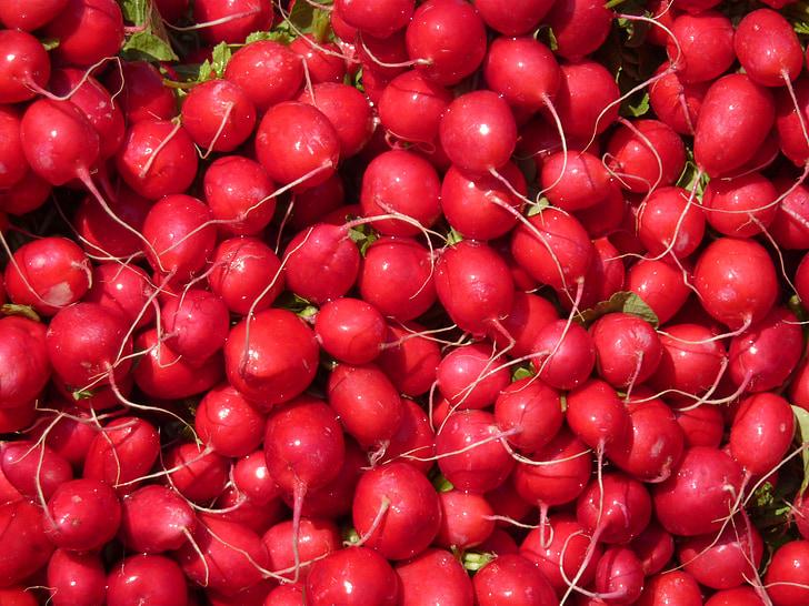 radishes, vegetables, red, eat, farmers local market, vegetable market, food