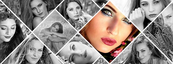 Nuotraukų montažas, juoda ir balta, mergaitė, gėlės, grožį