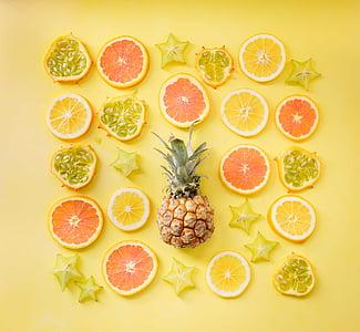 orange, lemon, pineapple, starfruit, fruit, yellow, drink