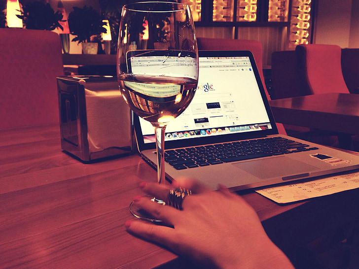 MacBook, víno, Google, laptop, počítač, Technológia, Pracovná
