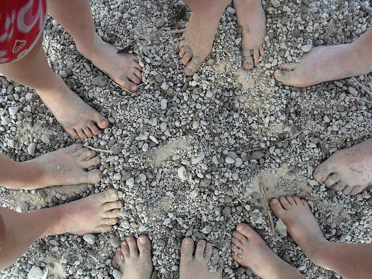 peus, platja, descalç, família, Tosca