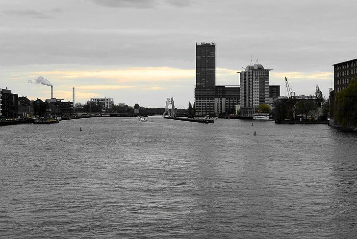 Берлін, Шпрее, oberbaumbrücke, abendstimmung, Архітектура, Річка, місто