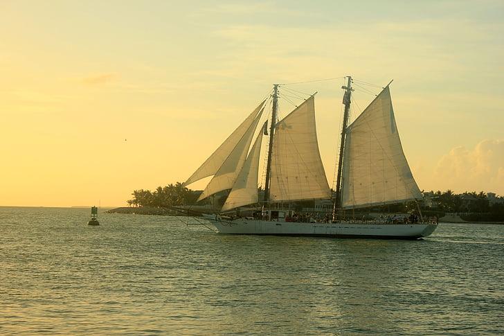 segelbåt, solnedgång, vatten, Ocean, fartyg, fartyg, skymning