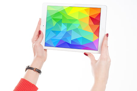apple, colorful, colourful, device, gadget, hands, ipad
